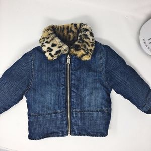 Jean Jacket with Leopard Fleece Lining Sz 2T-3T